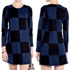 Marc by Marc Jacobs black & blue wool swing dress